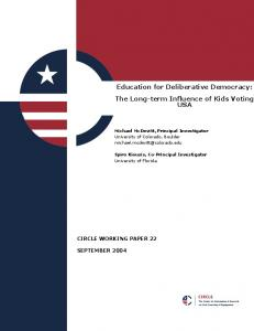 Education for Deliberative Democracy: The Long-term ... - Civic Youth