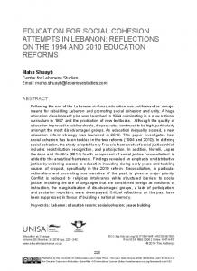 education for social cohesion attempts in lebanon - (SciELO) SA