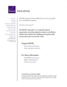 Education in Mexico: Challenges and Opportunities - RAND Corporation