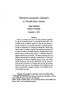 Education-occupation mismatch in Turkish labor market - Core