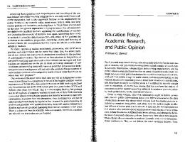 Education Policy, Academic Research, and Public Opinion.