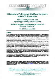 Education Policy and Welfare Regimes in OECD Countries - CiteSeerX