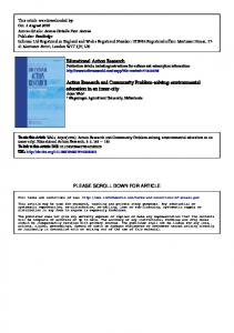 Educational Action Research Action Research and Community ...