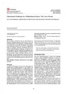 Educational Challenges in a Multicultural Society: The Case of Israel