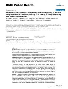 Educational intervention to improve physician reporting of adverse ...