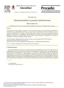 Educational Policies to Promote Cultural Diversity