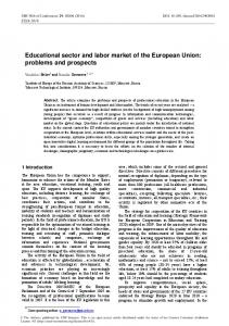 Educational sector and labor market of the European Union: problems ...