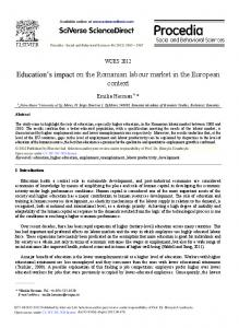 Education's Impact on the Romanian Labour Market in ... - ScienceDirect