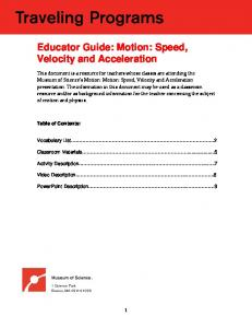 Educator Guide: Motion: Speed, Velocity and Acceleration