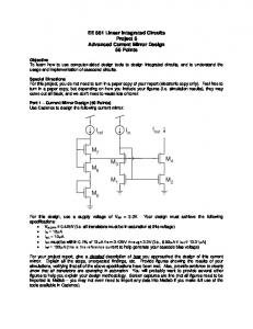 EE 551 Linear Integrated Circuits Project 5 Advanced Current Mirror ...