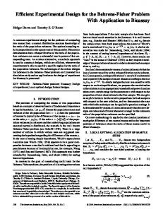 Ef cient Experimental Design for the Behrens-Fisher Problem With ...