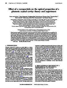 Effect of a nanoparticle on the optical properties of a ... - OSA Publishing