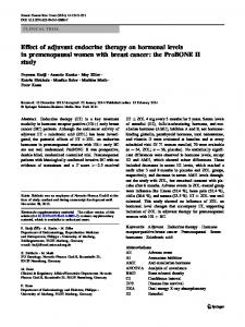 Effect of adjuvant endocrine therapy on hormonal ... - Springer Link