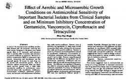 Effect of Aerobic and Microaerobic Growth Conditions