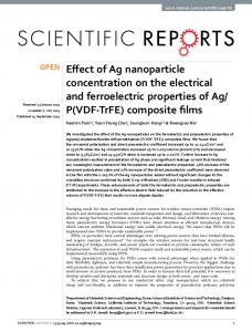 Effect of Ag nanoparticle concentration on the ... - Caltech Authors