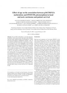 Effect of age on the association between p16CDKN2A methylation ...