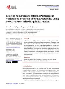 Effect of Aging Organochlorine Pesticides in Various Soil Types on ...
