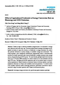 Effect of Agricultural Feedstock to Energy Conversion Rate on ... - MDPI
