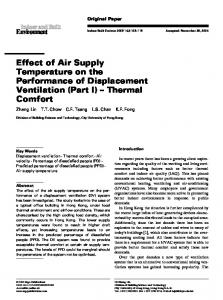 Effect of Air Supply Temperature on the Performance ... - SAGE Journals