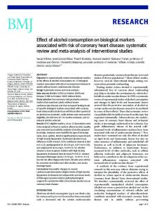 Effect of alcohol consumption on biological markers associated with ...