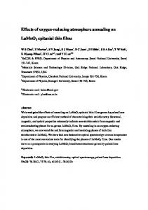 Effect of annealing on LaMnO3 epitaxial thin film grown by ... - arXiv