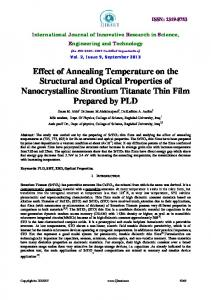 Effect of Annealing Temperature on the Structural and Optical ... - ijirset