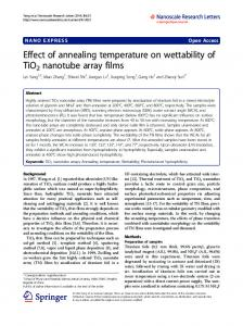 Effect of annealing temperature on wettability of ... - Semantic Scholar