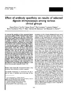 Effect of antibody specificity on results of selected digoxin ... - CiteSeerX