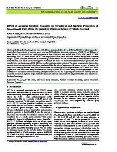 Effect of Aqueous Solution Molarity on Structural and Optical