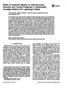Effect of Austenite Stability on Microstructural ...