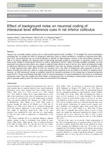 Effect of background noise on neuronal coding ... - Wiley Online Library