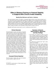 Effect of Balance Training on Postural Stability in ... - Semantic Scholar