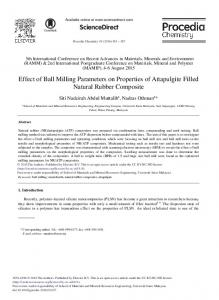 Effect of Ball Milling Parameters on Properties of ... - CyberLeninka