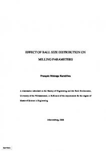 effect of ball size distribution on milling parameters