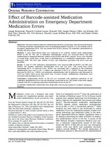 Effect of Barcodeassisted Medication ... - Wiley Online Library
