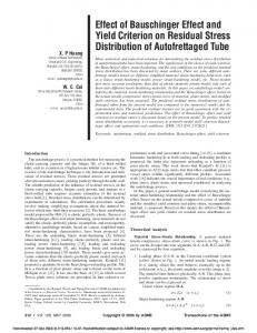 Effect of Bauschinger Effect and Yield Criterion on ...