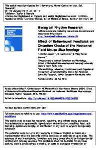 Effect of Behavioural Feedback on Circadian Clocks of the Nocturnal