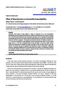 Effect of Bioenhancers on Amoxicillin bioavailability