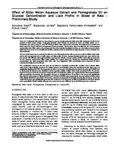 Effect of Bitter Melon Aqueous Extract and ...