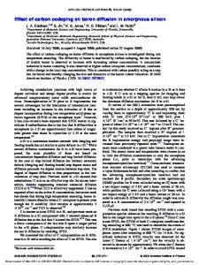 Effect of carbon codoping on boron diffusion in ... - SWAMP Center