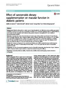 Effect of carotenoids dietary supplementation on ... - Eye and Vision