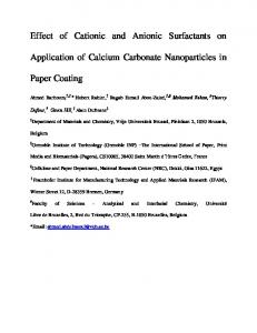 Effect of Cationic and Anionic Surfactants on Application of Calcium ...