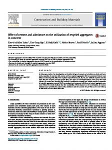 Effect of cement and admixture on the utilization of
