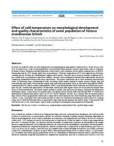 Effect of cold temperature on morphological development and quality ...