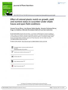 Effect of colored plastic mulch on growth, yield and ...