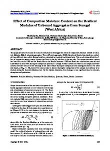 Effect of Compaction Moisture Content on the Resilient Modulus of