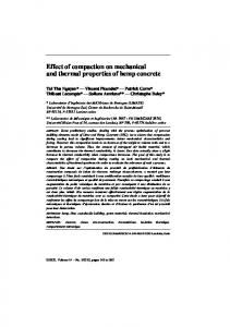 Effect of compaction on mechanical and thermal properties of hemp ...