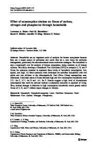 Effect of consumption choices on fluxes of carbon, nitrogen and