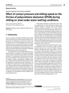 Effect of contact pressure and sliding speed on the