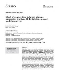 Effect of contact time between alginate impression and type III dental ...
